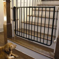 "Wrought Iron Decor Hardware Mounted Pet Gate (Color: Black, Size: 27"" - 42.5"" x 29.5"")"