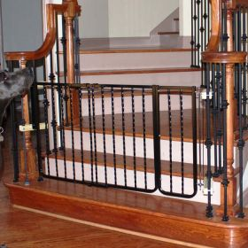 "Wrought Iron Decor Hardware Mounted Pet Gate Extension (Color: Black, Size: 10.5"" x 29.5"")"