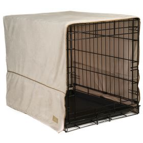 "Plush Pet Crate Covers (Color: Ivory, Size: Small 24"" x 18"")"