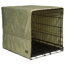 "Plush Pet Crate Covers (Color: Sage Green, Size: Small 24"" x 18"")"