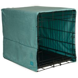 "Plush Pet Crate Covers (Color: Sea Foam Blue, Size: Small 24"" x 18"")"